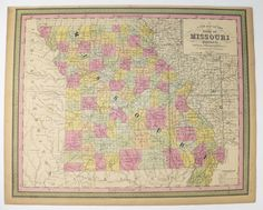 Vintage MO Map 1852 Mitchell Missouri Map, Cowperthwait Map of Missouri, Gift for Parents, 1st Anniversary Gift, Missouri History Buff Gift available from  OldMapsandPrints.Etsy.com #Missouri #UniqueCouplesGift #MissouriWeddingGift #1852MitchellCowperthwaitMissouriMap