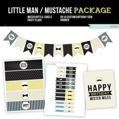Mustache Birthday Printables - Banner, Water Bottle Labels, Party Flags and 8x10 Print - Gradybug Designs - Little Man