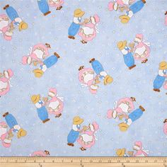 Sugar and Spice Children Blue from @fabricdotcom  Designed by Pearl Krush for Troy Fabrics, this fabric is perfect for quilting, apparel and home decor accents. Colors include brown, white, pastel pink, yellow, pink and blue.