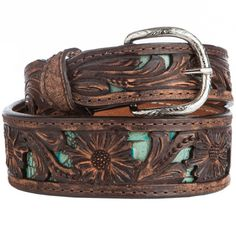Brown & Turquoise Belt with Tooling by Double J Saddlery Belt wit JB on tip (I would Change the buckle) Country Girl Style, Country Fashion, Country Outfits, Country Girls, My Style, Western Outfits, Western Belts, Western Wear, Cowgirl Belts