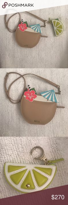 """1 HOUR SALE ! KATE SPADE PURSE BUNDLE 🌴🌺HOST PICK🌴🌺 BEST IN BAGS PARTY🌴🌺Kate spade Crossbody Coconut Drink Purse with a side of Lime Keychain/Coin Purse- bundled together only.  How cute is this !!!This reminds me of the movie Wedding Ringers with Kevin Hart when they are singing """"put the lime in the coconut """" This is a very unique purse. I live at the beach so maybe it's just me !   😂❤️.                                               Special thanks to @mmadonna40 for the host pick…"""