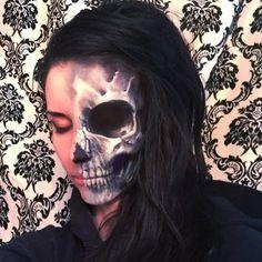 Side by side half face Skull Makeup