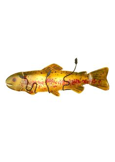 29 Inch W Metro Fusion Brown Trout Wall Sconce. 29 Inch W Metro Fusion Brown Trout Wall Sconce Theme:  ART GLASS ANIMALS CONTEMPORARY Product Family:  Metro Fusion Brown Trout Product Type:  WALL SCONCES Product Application:  LIGHTED SCULPTURES -- ONE LIGHT Color:  AMBER/RED/GREEN Bulb Type: MED Bulb Quantity:  2 Bulb Wattage:  100 Product Dimensions:  10H x 29W x 5DPackage Dimensions:  NABoxed Weight:  5.5 lbsDim Weight:  72 lbsOversized Shipping Reference:  NAIMPORTANT NOTE:  Every…