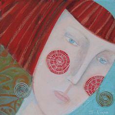 Girls Who Wear Earrings 3 - original painting by Judith Logan