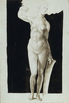 Proportion Study of Human Figure with Shield by Albrecht Durer, pen and ink with ink wash #drawing on paper c. 1500, fine art #poster #prints . #renaissance #anatomy #figure #posters
