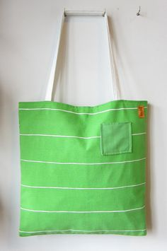 Down The Road Apple Green and White Stripe by Sourbagsandtotes