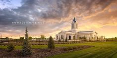Fort Collins Temple Sunset Panoramic - A stunning sunset at the new Fort Collins Colorado Temple. The open house starts on August 19th and it will be dedicated on October 16, 2016.