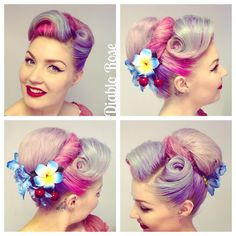 Vintage Hairstyles Tutorial My hair from a few weeks ago, with blue hair flowers from and hibiscus and cherry flower from Bad Kitty. Vintage Hairstyles Tutorial, Retro Hairstyles, Curled Hairstyles, Wedding Hairstyles, Retro Updo, Vintage Updo, Cherry Hair, Cherry Flower, Ear Hair Trimmer