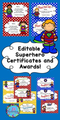 Delight your children with these Editable Superhero Themed Certificates and awards to be used all year! Includes 7 different awards.Click on Student Name and Teacher's Name to personalize!
