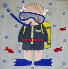 Cuadro infantil personalizado niña buzo para Ana