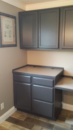finished cabinets painted in behr cracked pepper office remodel painting kitchen cabinets. Black Bedroom Furniture Sets. Home Design Ideas