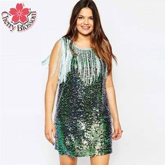 002b85327db917 Click to Buy    Plus Size Women Dress 2015 Fashion New Tassel Sequin