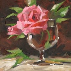 COLORFUL+IMPRESSIONIST+STILL+LIFE,+ROSES,+painting+by+artist+Tom+Brown