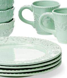 { mint } love these plates Mint Color, Mint Green, Verde Aqua, Kitchenware, Tableware, Mint Chocolate, Home Decor Furniture, Shades Of Green, Decorating Your Home