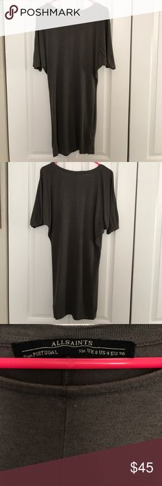 All saints darcy dress size 4 olive green Beautiful form fitting all saints dress, scoop neck, dark olive green, women's size 4, one tiny snag in left sleeve All Saints Dresses Midi