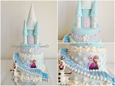 Disney Frozen Castle Cake with Anna and Elsa and OLAF! https://www.facebook.com/SingerSistersSweets