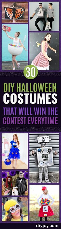 Best DIY Halloween Costume Ideas - Do It Yourself Costumes for Women, Men, Teens, Adults and Couples. Fun, Easy, Clever, Cheap and Creative Costumes That Will Win The Contest http://diyjoy.com/best-diy-halloween-costumes