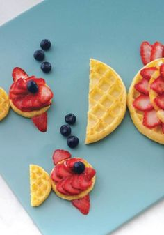 Create you own food art with fruit and Eggo Waffles! What could make breakfast more fun than Waffle Fish?