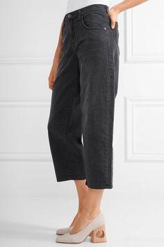 Current/Elliott - The Barrel Crop High-rise Wide-leg Jeans - Black - 32
