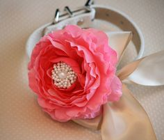 Pink Champagne Floral Dog Collar Pet Wedding by LADogStore on Etsy, $45.50