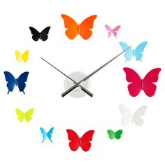 DIY Butterfly wall clock. Cute.