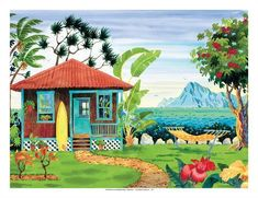 size: Giclee Print: The Beach House - Hawaii - Hawaiian Islands - Tropical Paradise by Robin Wethe Altman : This exceptional art print was made using a sophisticated giclée printing process, which deliver pure, rich color and remarkable detail. Tropical Beach Houses, Tropical Art, Tropical Paradise, Beach House Hawaii, Seaside Beach, Tropical Beaches, Laguna Beach, Miami Beach, Barbados