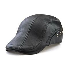 ed7d8e6b0f359 New Autumn Winter Beret Caps Unisex Mens Hats PU Leather Solid Beret Hat  British Retro Men Women Woolen Flat Cap Boina Hat