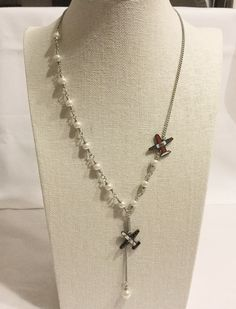 """Fabulous necklace! CHANEL """"AIRLINE"""" Spring Runway CC Airplane PEARL Chain Necklace Airport 2016 NEW"""