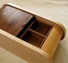 Handmade Curly Maple Black Walnut Wooden Jewelry Box, Beautiful Jewelry Box