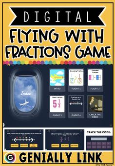 "Students are going to LOVE this digital review game for fractions practice! The interactive gave that simulates an airplane flight will instantly grab students' attention! Students will complete 4 ""flights"" in which they solve a variety of questions about fractions. Flight 1: Comparing fractions Flight 2: Equivalent fractions Flight 3: Mixed fractions Flight 4: Fractions on a number line. Can they crack the secret code? Teaching Technology, Teaching Tools, Educational Technology, Teacher Resources, Teaching Ideas, Comparing Fractions, Equivalent Fractions, Math Fractions, 4th Grade Math"