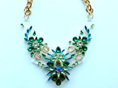 Green and Blue on Acrylic Statement Necklace