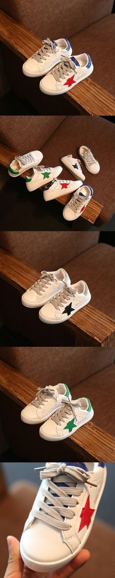 2016 Autumn Kids Shoes Boys Girls Shoes Fashion Star Lace Up Casual Leather Boys Sneakers Children Shoes Girls Sport Shoes