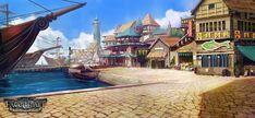 Fatecraft Port Town by TylerEdlinArt Fantasy town Fantasy landscape Landscape scenery