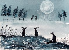 Original Watercolour Painting - FOX AND HARES IN THE WINTRY MOONLIGHT