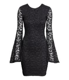 Fitted black lace mini dress with trumpet sleeves & low-cut back  | Party in H&M
