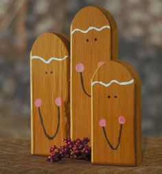 Set of Three Reclaimed Wood Gingerbread Men. Adorable for Table Top, Mantle, Shelves or Porch. Made with Reclaimed Wood that has been Hand Painted. Christmas Candle, Primitive Christmas, Rustic Christmas, Christmas Art, Christmas Projects, All Things Christmas, Christmas Holidays, Christmas Decorations, Christmas Ornaments