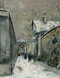 Maurice Utrillo, La maison de chaume sous la neige, rue Saint-Vincent à Montmartre