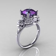 Modern Vintage 14K White Gold 2.5 Carat Alexandrite Diamond Wedding, Engagement Ring R167-14KWGDAL. $1,249.00, via Etsy.