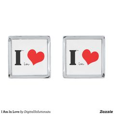 I Am In Love Silver Finish Cufflinks