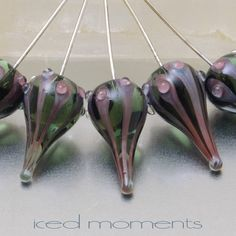 Glass Head pins - Walking Dot teardrops (1) - transparent grey and metallic red - sterling - by Jennie Yip by IcedMoments on Etsy https://www.etsy.com/listing/67367782/glass-head-pins-walking-dot-teardrops-1