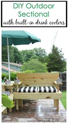 DIY Outdoor Sectional with Built-In Umbrella and Drink Coolers - perfect for your porch, patio, or deck. Even a beginning builder can make this one!
