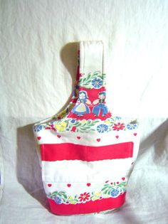 Recycled tote bag handbag with Penna Dutch design recycled cotton red and blue on white. $25.00, via Etsy.