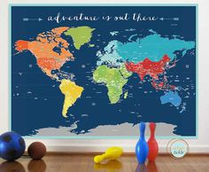 World Map Sticker for Baby Boy Nurseries from @danadecals #PNapproved