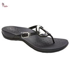 Vionic Womens Karina Black Leather Sandals 6.5 UK - Chaussures vionic (*Partner-Link)
