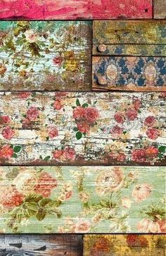 old roses: Wallpaper on old wood, then sandpaper. patina decoupage con rosas y despues lijado Painted Furniture, Diy Furniture, Painted Wood, Decoupage Furniture, Painted Boards, Repurposed Furniture, Old Wood, Home Projects, Wood Crafts