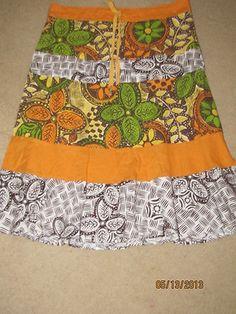 Billabong Peasant Surf Hawaii Skirt Boho Drawstring Cotton