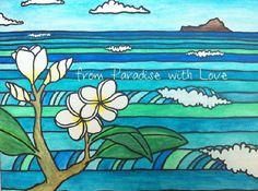 Hawaii Art - Oahu Island - Waimanalo Beach - Tropical Ocean Print - Plumeria - Aloha on Etsy, $30.00