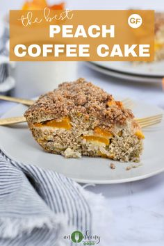 The best Peach Coffee Cake that's made with juicy fresh peaches is a delicious grain-free breakfast option. Made gluten-free and dairy-free this coffee cake is also budget-friendly! Only $7.08 for the whole coffee cake, making it $1.17 per serving! Budget-friendly gluten-free breakfast recipe at its best! Ana Ankeny - Healthy Recipes