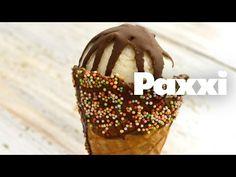 Παγωτό βανίλια χωρίς παγωτομηχανή και επικάλυψη σκληρής σοκολάτας - Paxxi E90 - YouTube Chocolate Covered, Caramel Apples, Tiramisu, Almond, Vanilla, Deserts, Ice Cream, Cupcakes, Sweets