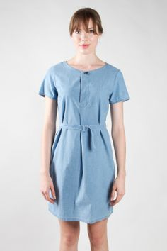 Shop for A.P.C. Dresses for Women | Garconne Chambray Dress in Blue | Incu